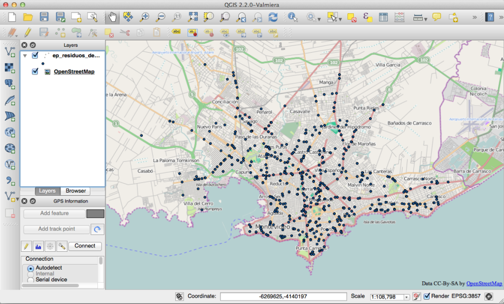 Shapefile over map